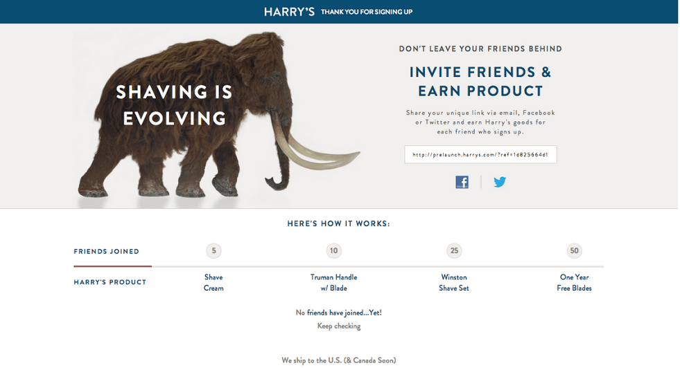 Harry's Referral Program Page