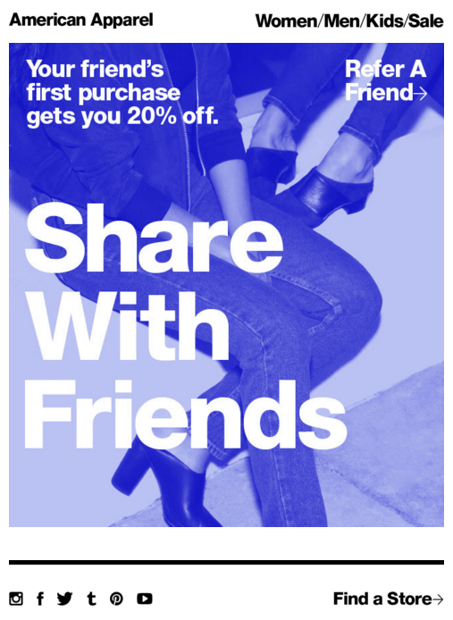 American Apparel referral program example