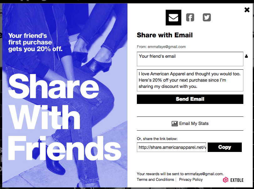 american apparel referral program sharing - how to run a referral program