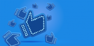 thumbs up on blue background