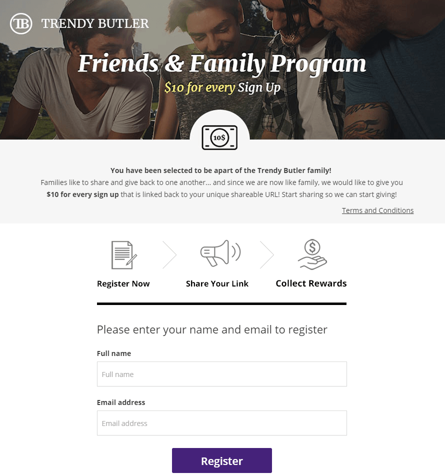 trendy butler referral program landing page