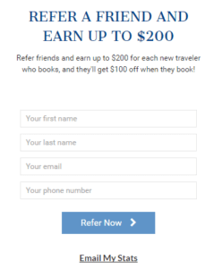 vantage travel referral program example