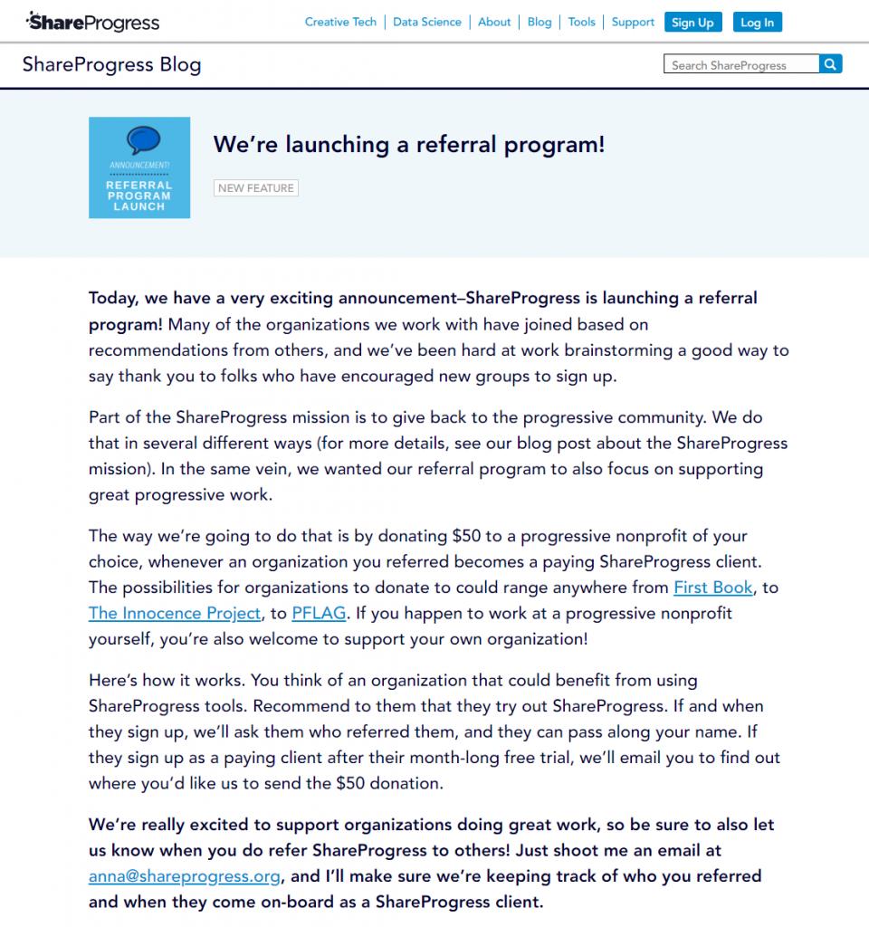 shareprogress referral program announcement blog post