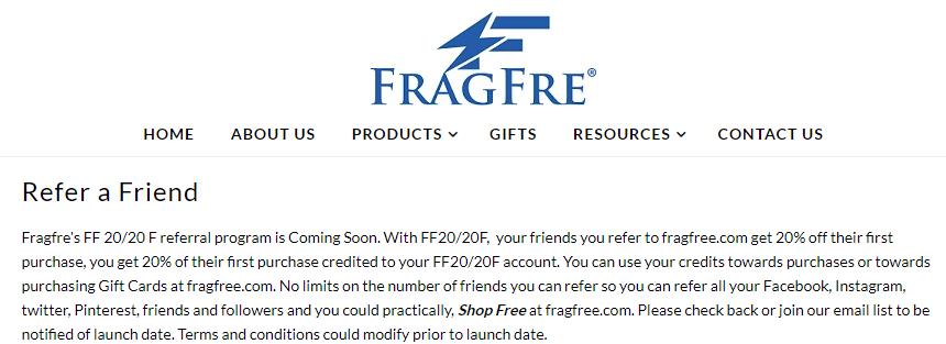 fragfre referral program announcement
