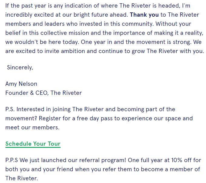 the riviter referral program launch