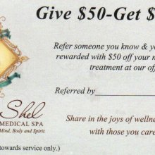 Refer someone you know & you will both be rewarded with $50 off your next service or treatment at our office.