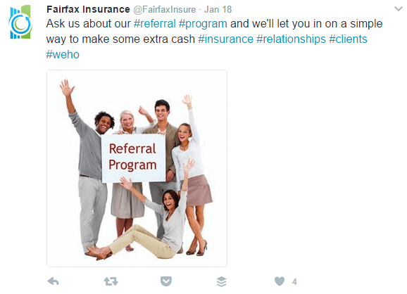 Referral Program Example of Social Media Message