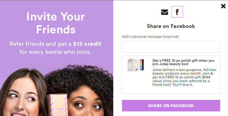 Social media message for referral program