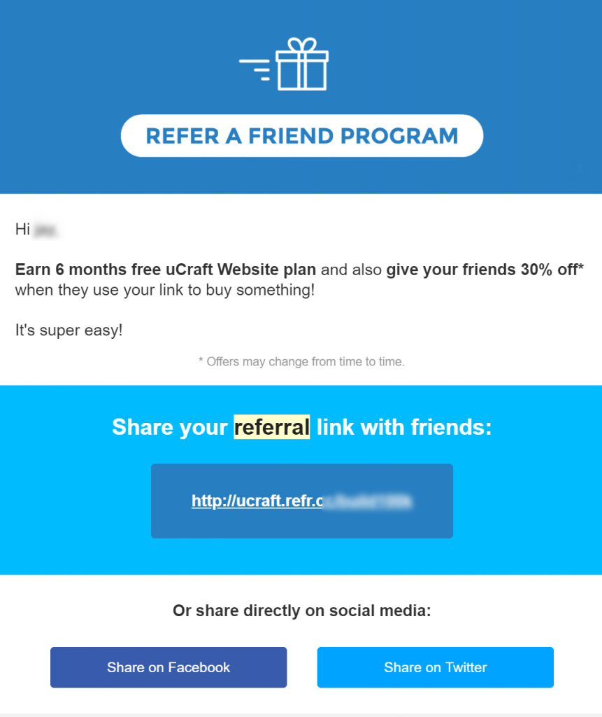 ucraft referral email