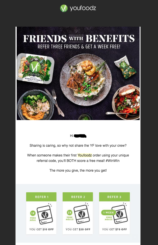 youfoodz: example of how to ask for referrals in an email