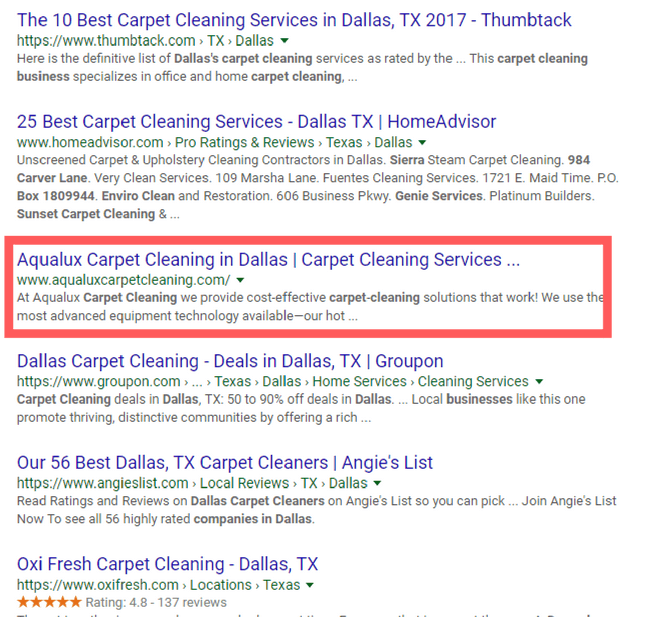 carpet cleaning search results