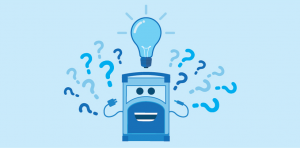Character Ampy with question marks and a lightbulb above head