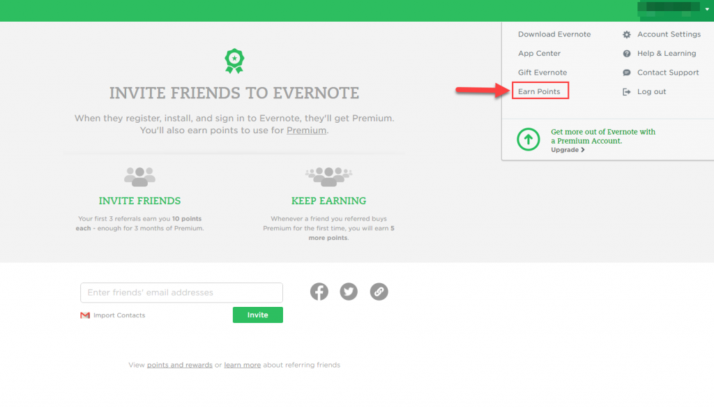 Evernote User Dashboard
