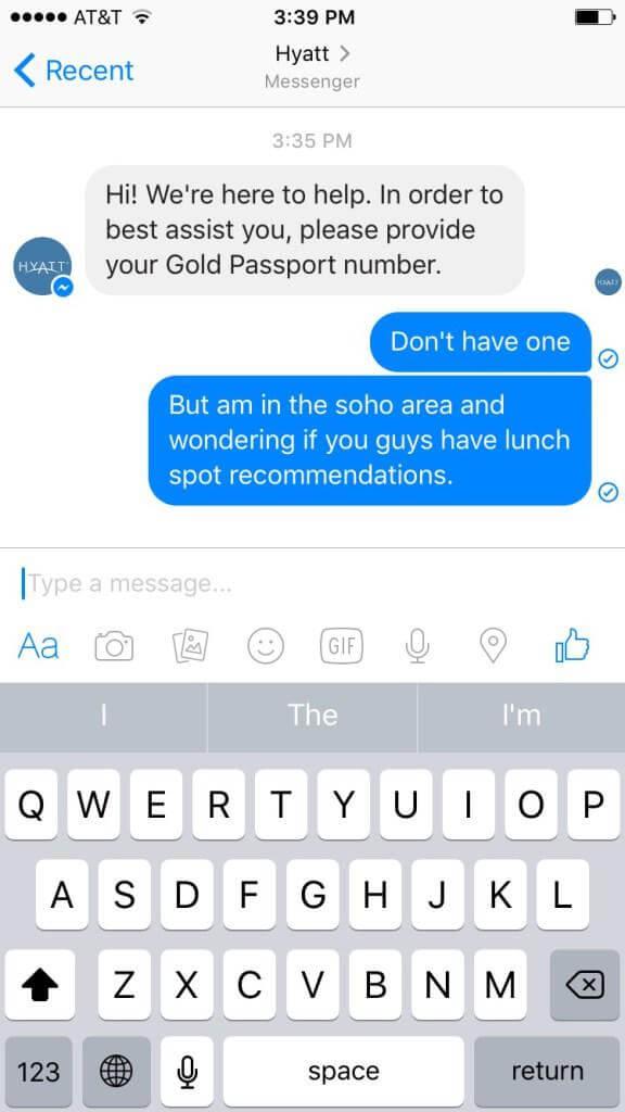 Hyatt's messenger app