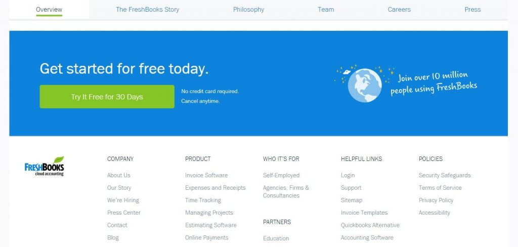 freshbooks about us page