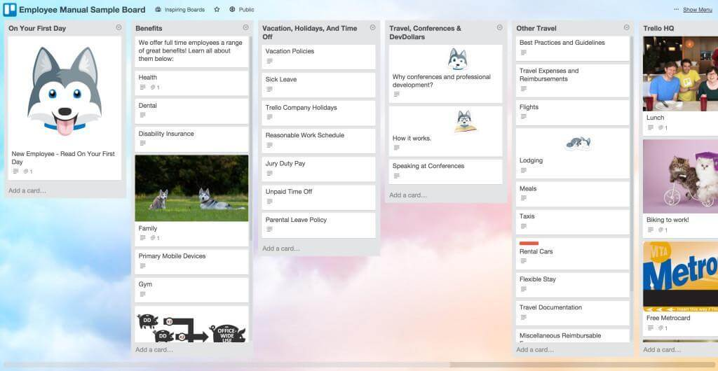 employee manual via trello board example