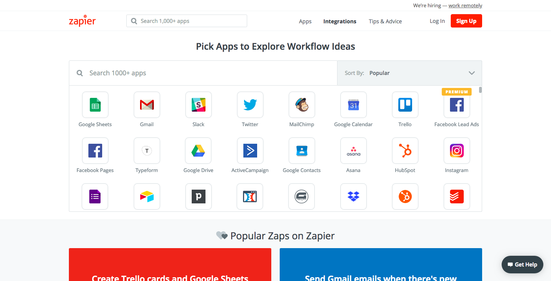 screenshot of zapier list of integration