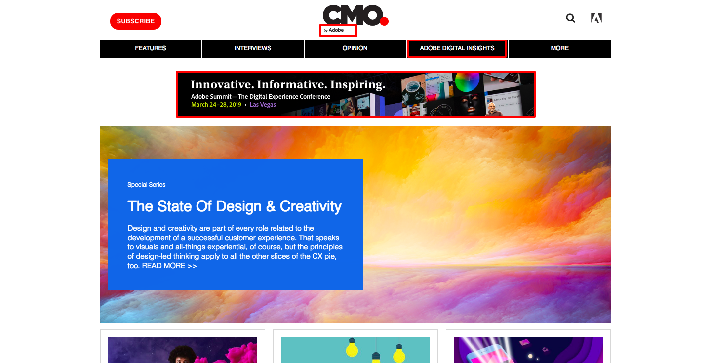 adobe.com and cmo.com partnered up and cmo.com displaying adobe events and promotions