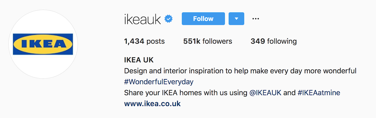 ikea profile page