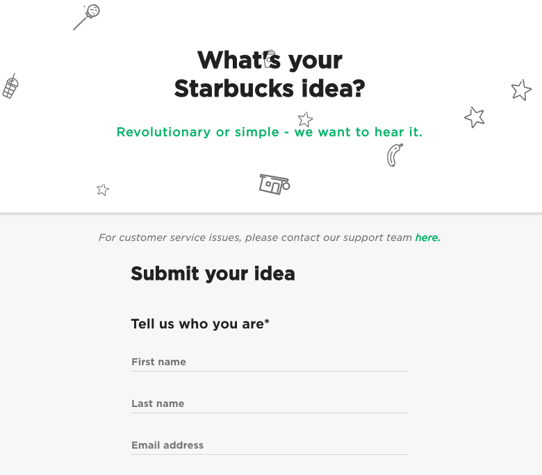 Feedback creates innovative opportunities with Startbucks Idea submission example