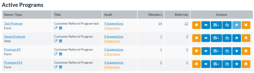 active programs screenshot