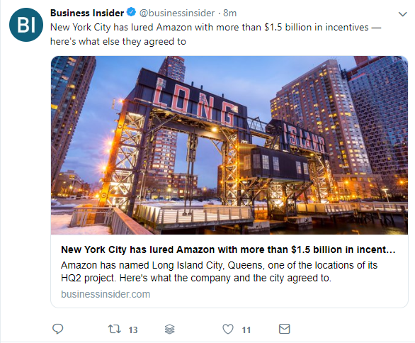 Business Insider shares an article and it shows that people have liked and retweeted their post.