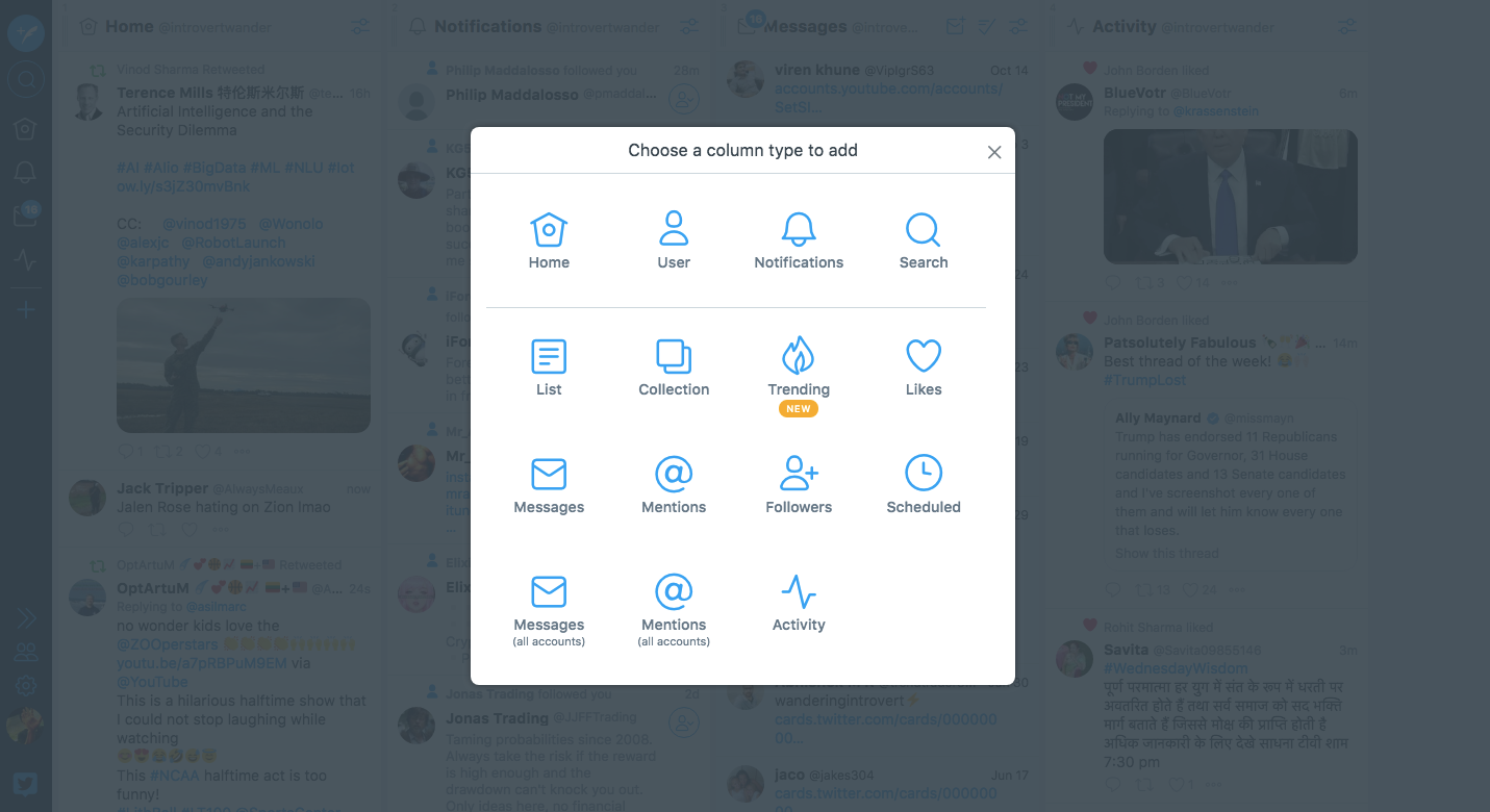 tweetdeck dashboard screentshot