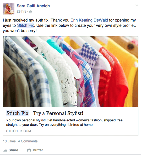 StitchFix example of great referral sharing example