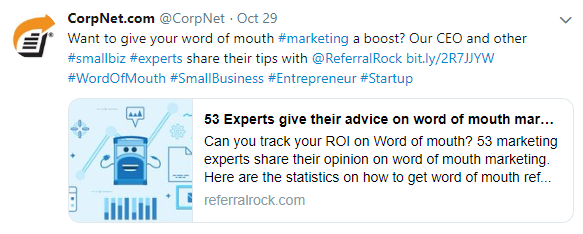A Referral Rock article is shared by another company on Twitter