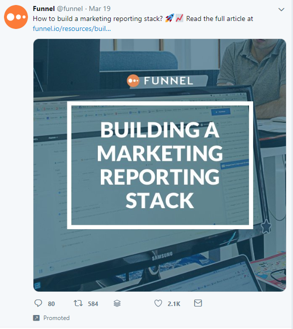The brand 'Funnel' shares an article on Twitter that appears to have been a promoted post.