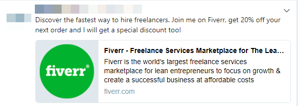 Fiverr refer a friend message on facebook post
