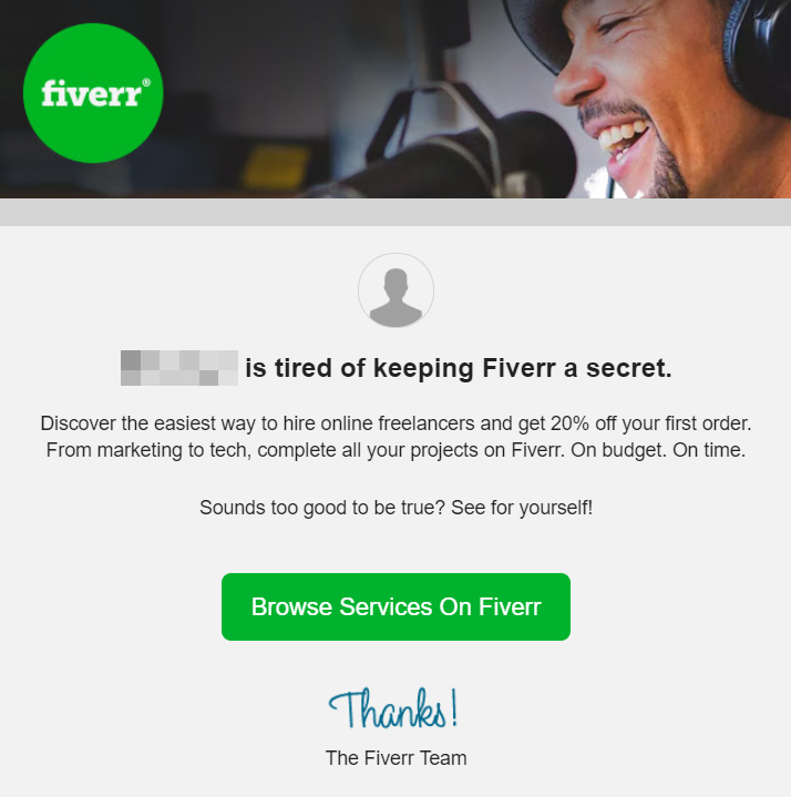 fiverr refer a friend email message