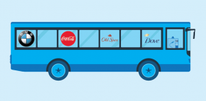 Referral Rock's mascot driving around famous brand logos (Dove, Coca-Cola, Old Spice, BMW)