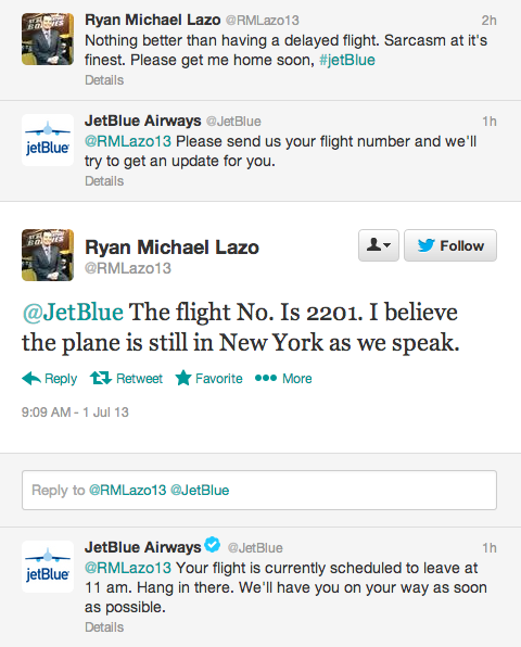 jetblue twitter support example