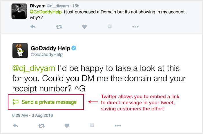 godaddy twitter support example
