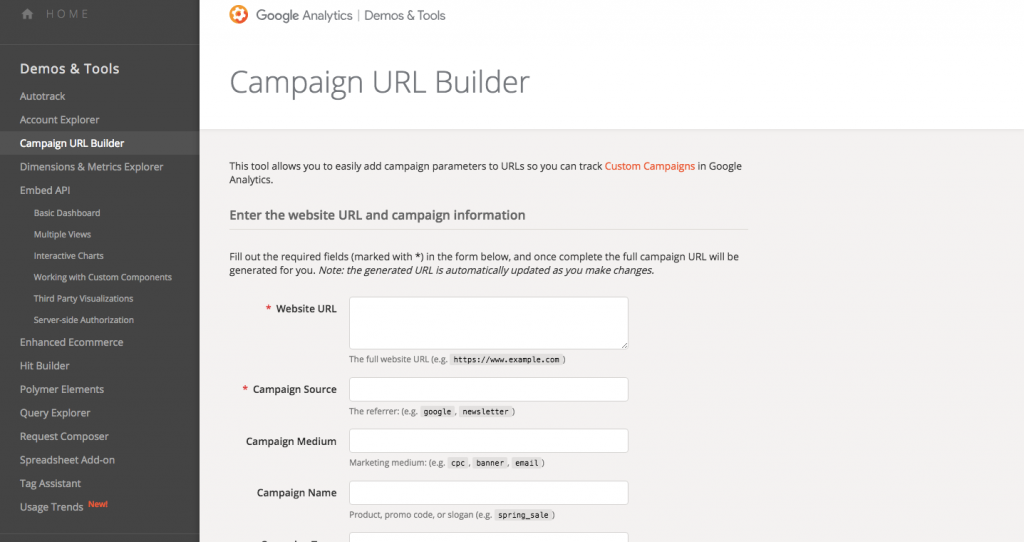 campaign URL builder google analytics