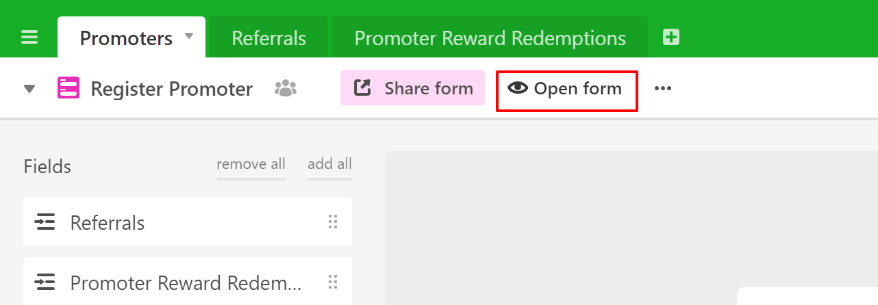 Referral Tracking spreadsheet how to register promoters or members on Airtable example