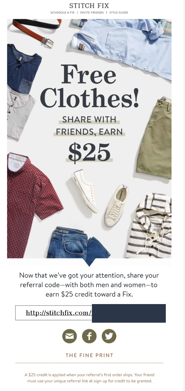Stitch Fix referral email