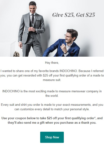Indochino referral email