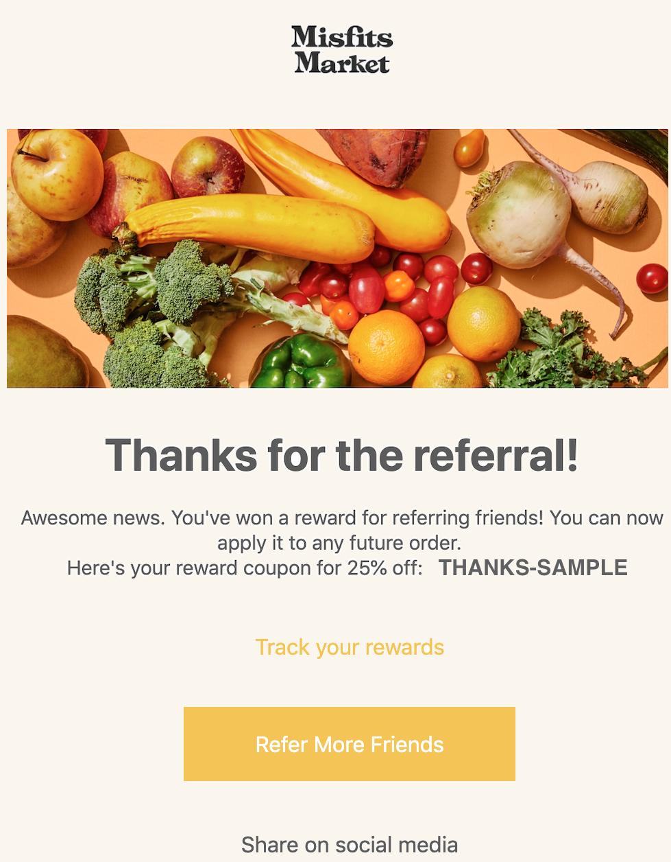 Misfits Market referral email