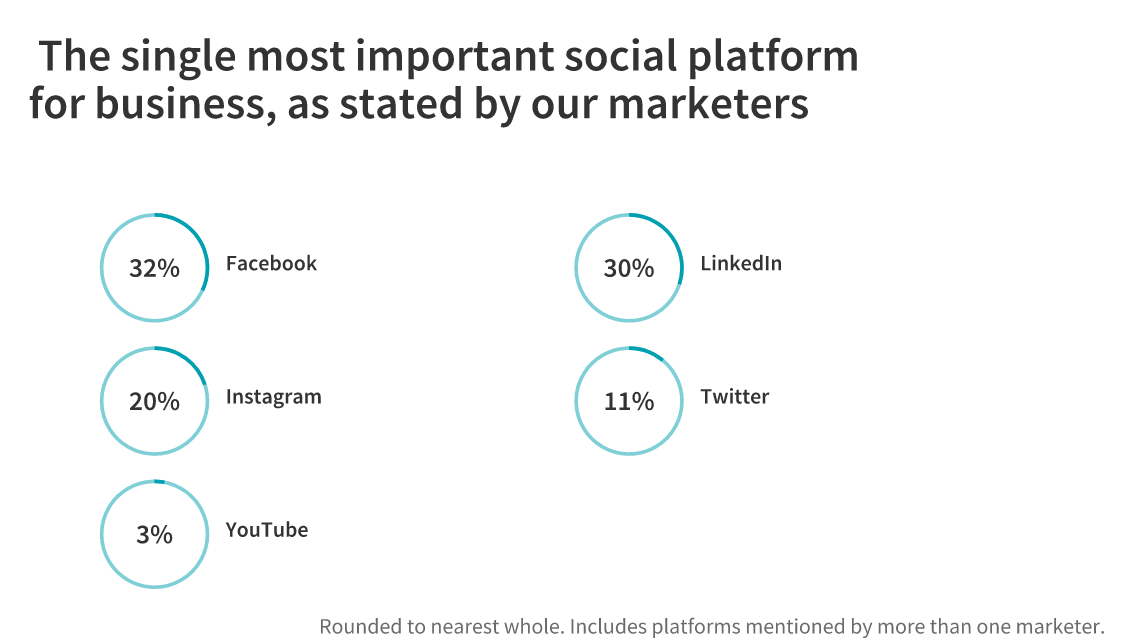 social media platforms and their percentages based on user choices