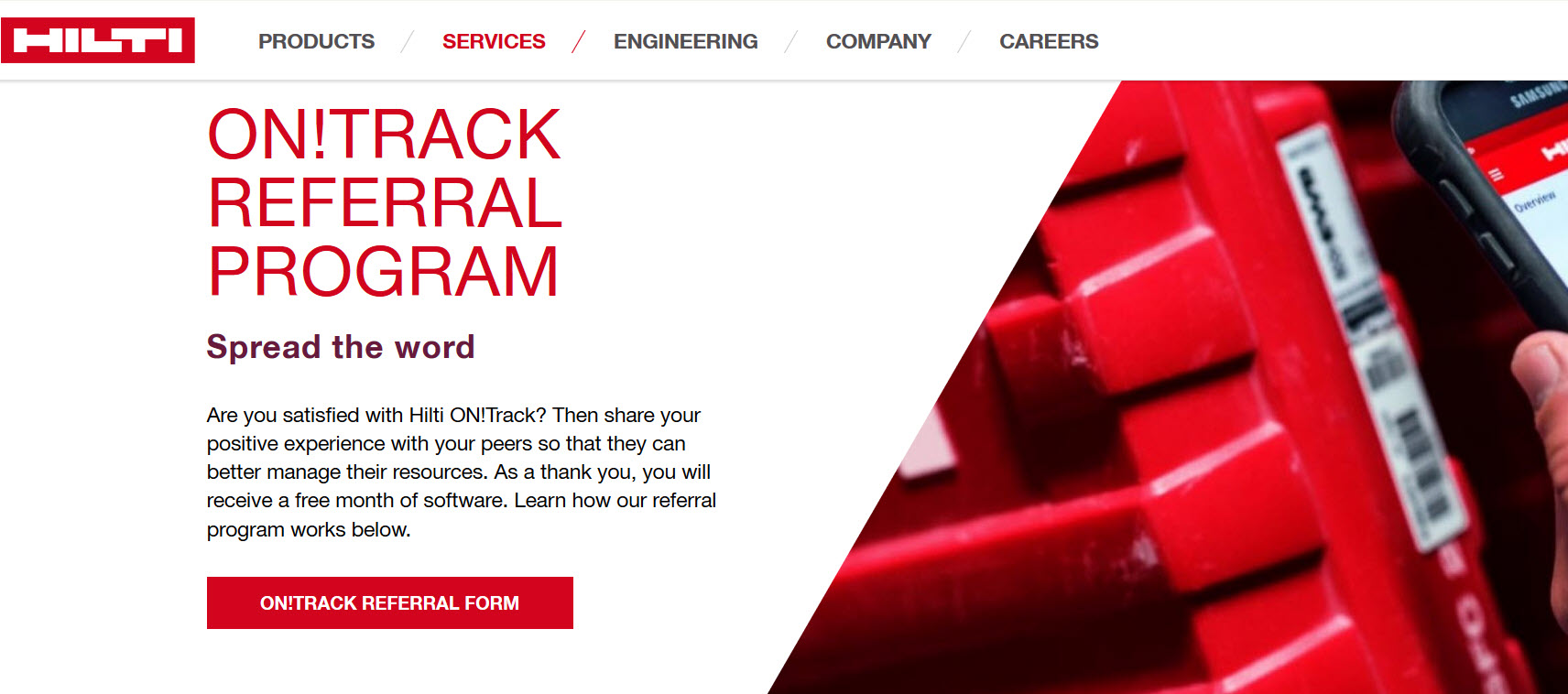 Hilti's ontrack referral service