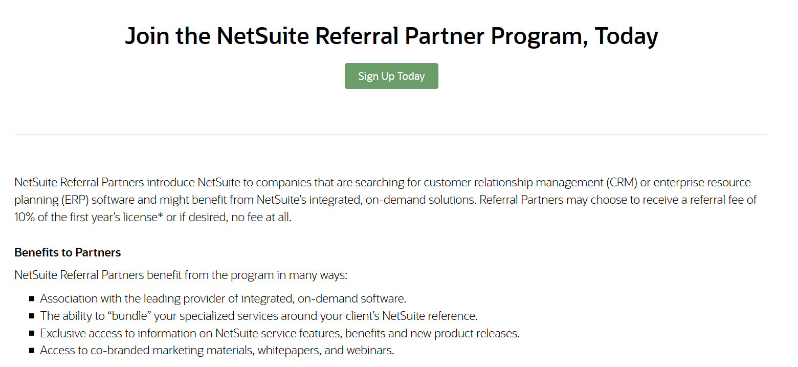 NetSuite referral program example