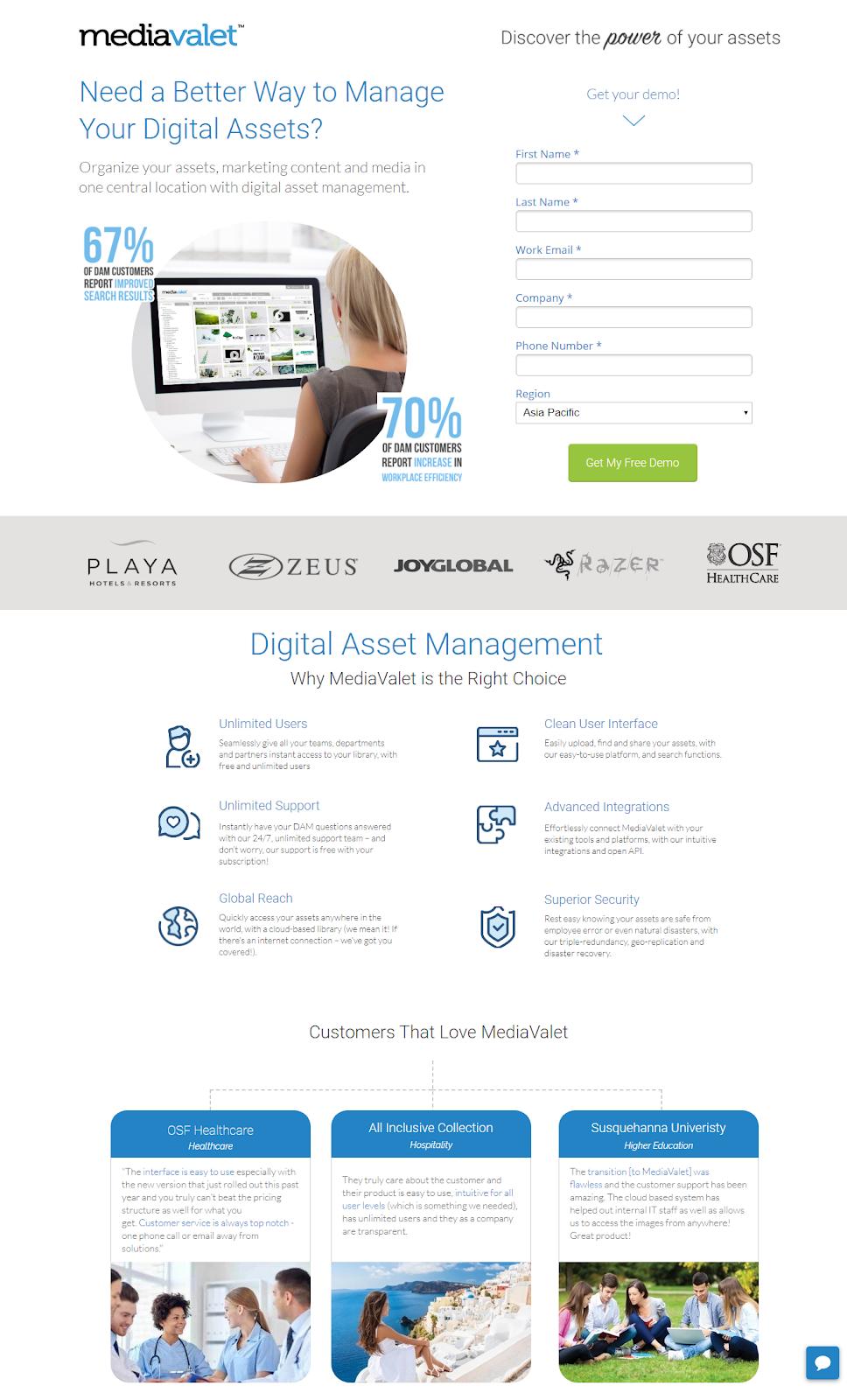 mediavalet lead generation page