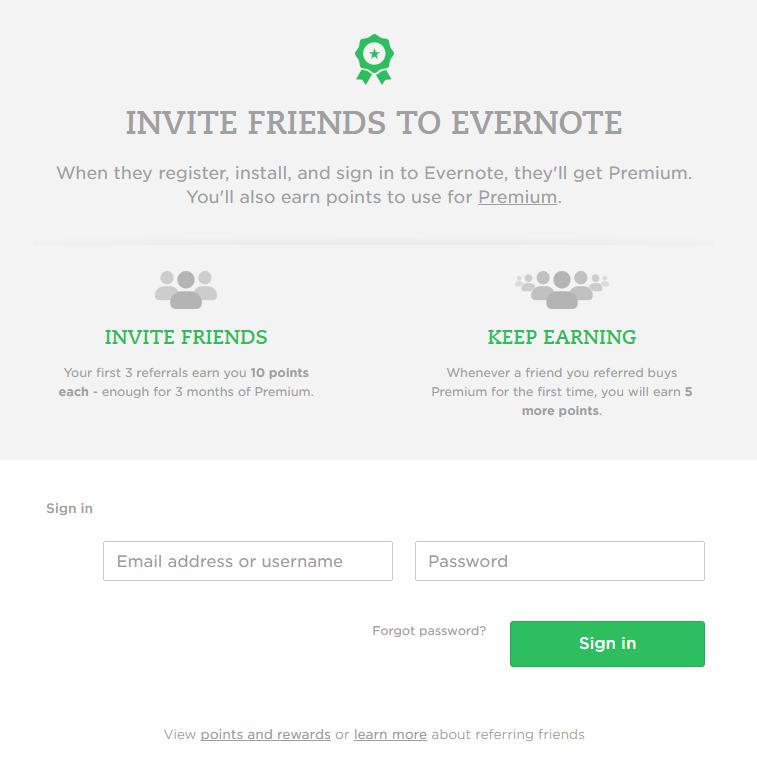 Evernote SaaS referral program