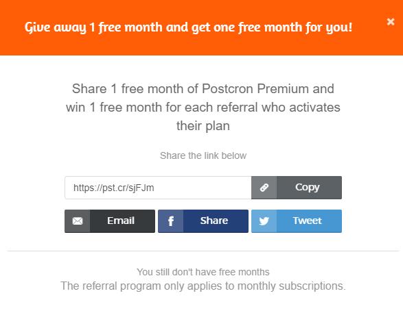 Postcron SaaS referral program