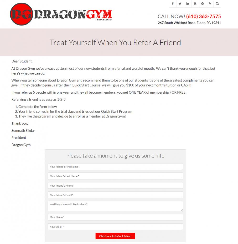 dragon gym small business referral program