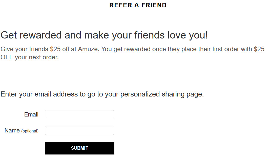 Amuze's referral system