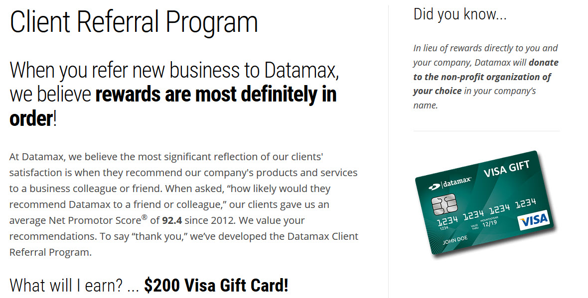 gift card referral example