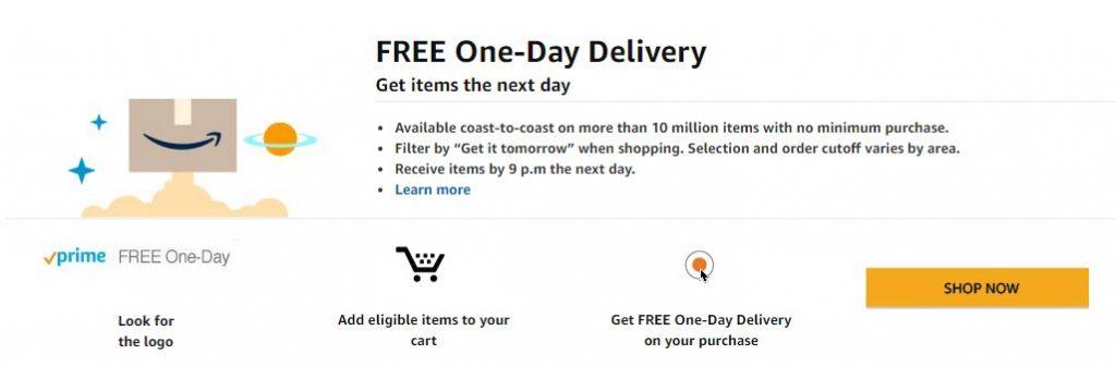 amazon prime free delivery